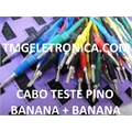 CABO TESTE PINO BANANA + BANANA 4Mm ,Double Banana Plug Test Leads - 1Metro/1000Mm,Coloridos