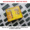 Relé 110VDC - 40.31.8.110.0000, RELE 110VOLTS - 110VDC Relay40.31.8.110.0000, 110VOLTS - Relê 110V, 10A, 5 Terminais, General Purpose Relay, 40 Series, Power, SPDT, FINDER