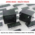 Relé 9VDC - AT1RC-9VDC, 9VOLTS - Relê 9V, 15A, 120VAC, 5 Terminais, 15 A contact, Direct PC mounting