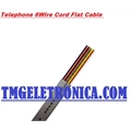 CABO CHATO LISO PARA TELEFONE 26AWG, 6VIAS, Telephone 6 Wire Conductor Cord Cable Flat - CORES