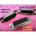 VGA26, HD26 - Conector 26Vias,Solda Fio Macho OU Femea,D-Sub Connector Plug Female,Male Pins26 Position