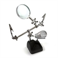 LUPA COM SUPORTE FERRO DE SOLDA E GARRA JACARE - Magnifying Glass with Soldering Iron Support and Alligator Claw