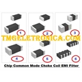 INDUTOR SMD - 200 Ohm, REDE DE INDUTOR SMD CHOKE COIL COMMON Filters / Chokes Array 200Ohm,100MHz  90MA SMD T/R, SMD 8PINOS
