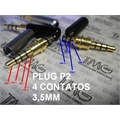 PLUG P2 4POLOS GOLD 3,5MM, Plug 4 Pole 3.5mm Male stereo earphone headphone mini Jack Plug Audio e Video