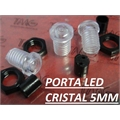Porta LED, Suporte de LED 5MM - REDONDO COM LENTE, Panel mount LED holder LED PLASTIC- TMG68/VÁRIOS