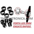 PORTA LED 5MM - REDONDO HOLDER LED PLASTICO ENCAIXE PAPIDO/CLIP PRETO