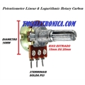 Potenciometro Mini LINEAR SEM Chave,Potentiometer  Linear Single Amplifier Carbon - L15Mm OU L20Mm Eixo Estriado