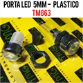 Porta LED, Suporte de LED 5MM - REDONDO Panel mount LED holder LED PLASTIC - CHROME TRANSPARENT LENS - TMG63