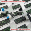 Chave Push button Liga Desliga 8X8Mm 6Pin,PUSH BUTTON LATCHING SWITCH DC 30V 0.1A DPDT 8X8MM Com Trava ou Sem trava