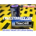 SB-AA02 - Bateria Tekcell 3.6V, SBAA02 Tekcell 3.6V Lithium Battery 1/2 AA Size, PLC industrial Tekcell Lithium Thionyl Chloride Cylindrical high - NOT Rechargeable