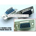 VGA15, HD15 - Conector 15Vias,Solda Fio Macho OU Femea,D-Sub Connector Plug Female,Male Pins15 Position 3 fileiras de terminais