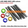 LED SMD 0805, Light emitting diodes 0805 (2012 metric) Standard LEDs - SMD - 2.0 mm × 1.25 mm - Diversas Cores